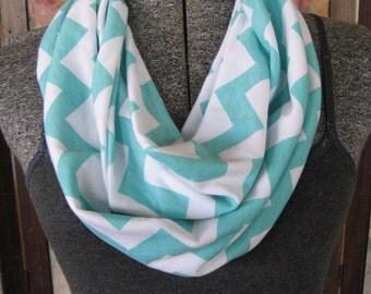 Mint Tiffany Blue Aqua Chevron Infinity Scarf - on White Jersey Knit - ChevronScarf