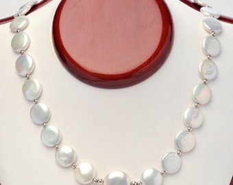 Coin Pearl Necklace Featuring 16mm Center Coin