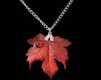 Red Sycamore Leaf and Ladybird Necklace