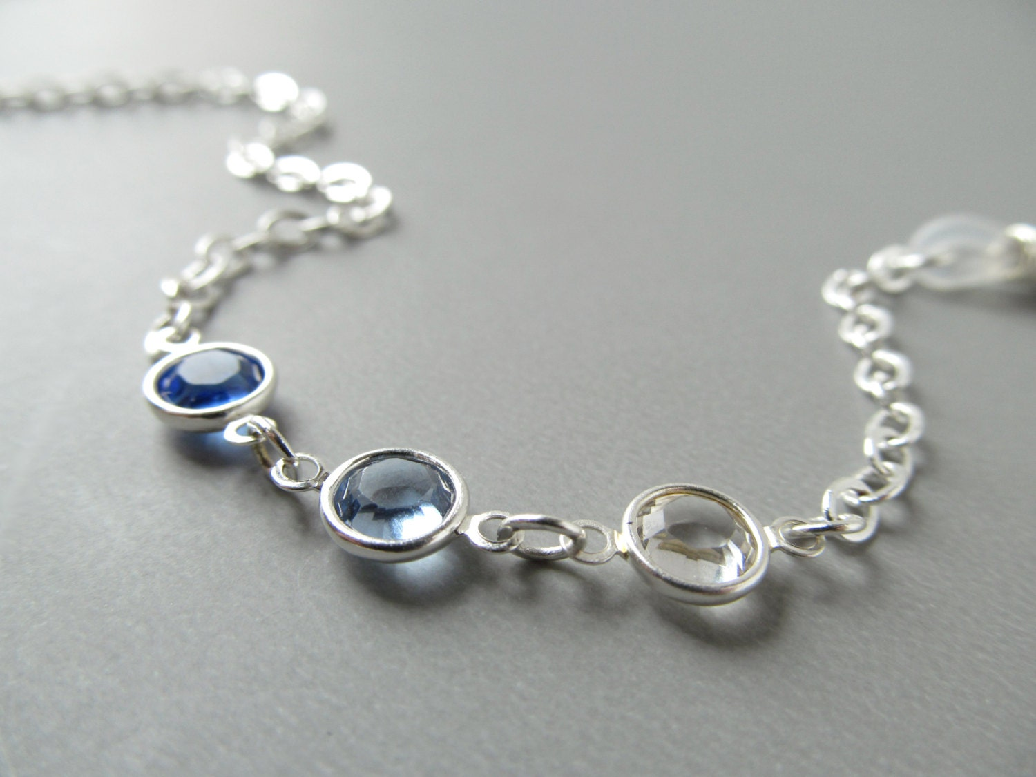 silver glasses chain blue crystals reading eyeglass chain