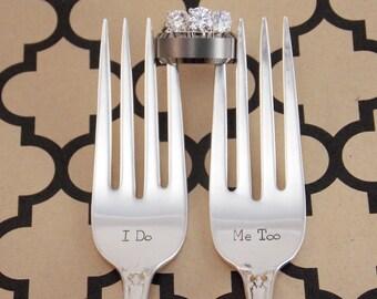 Wedding Forks, I do Me too Fork Set - Hand Stamped Vintage Silverware, wedding gift, wedding silverware