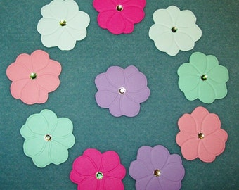 Scrapbook Flower Die Cuts, Embossed, Rhinestones, Soda Pop Colors, 10 pieces