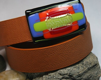 Vibrant Dichroic Fused Glass Belt Buckle with Faux Leather Belt