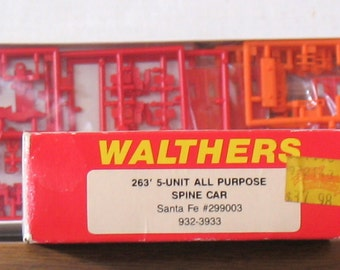 3 Vintage WALTHERS HO Model Train Car Kits 2 Spine Cars 1 Thrall Double Stack