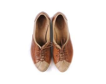 women Oxford shoes, flat brown shoes