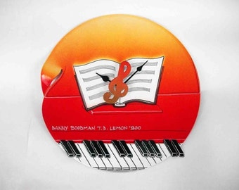 vinyl wall clock - The piano - old records recycled