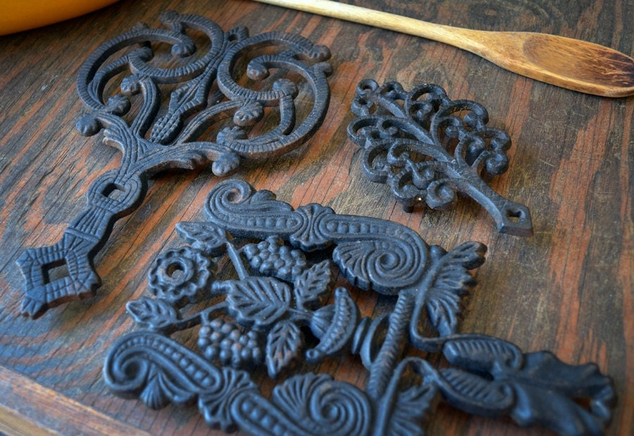 Vintage Cast Iron Trivets Antique Black Cast Iron Trivets