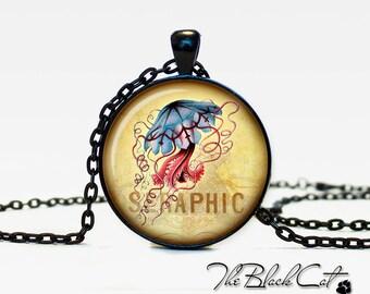 Jellyfish pendant Jellyfish  jewelry Jellyfish  necklace vintage style Sea life jewelry