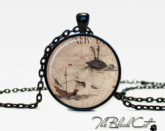 Vintage Ship pendant Vintage Ship jewelry Vintage Ship necklace Antique Style Ship Sea Monsters Antique Nautical Maps (PS0011)
