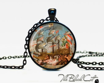 Vintage Ship pendant Vintage Ship jewelry Vintage Ship necklace Antique Style Ship Sea Monsters Antique Nautical Maps (PS0023)