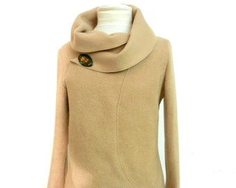 Women long Fleecejacket,beige size xs-L