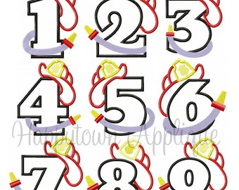 Firefighter Number Set Machine Embroidery Design