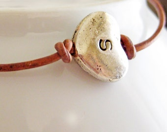 Hand Stamped Leather Wrap Bracelet - Personalized Valentine Jewelry - Friendship Bracelet - Heart Charm  - Gift, Favor, Bridal, Birthday