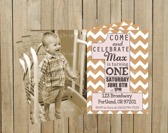 Trendy Light Brown Chevron First Birthday Invitation, Boy or Girl, Printable, Custom Digital File