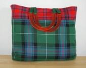 Tartan tote bag shopping bag work bag  medium.