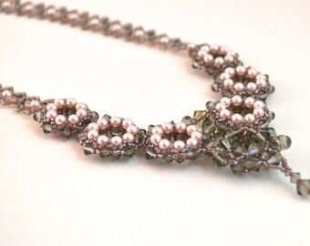 Black Diamond & Pink Pearl Swarovski Crystal Necklace