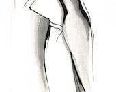 Inked Elegance-Framed Original India Ink Illustration