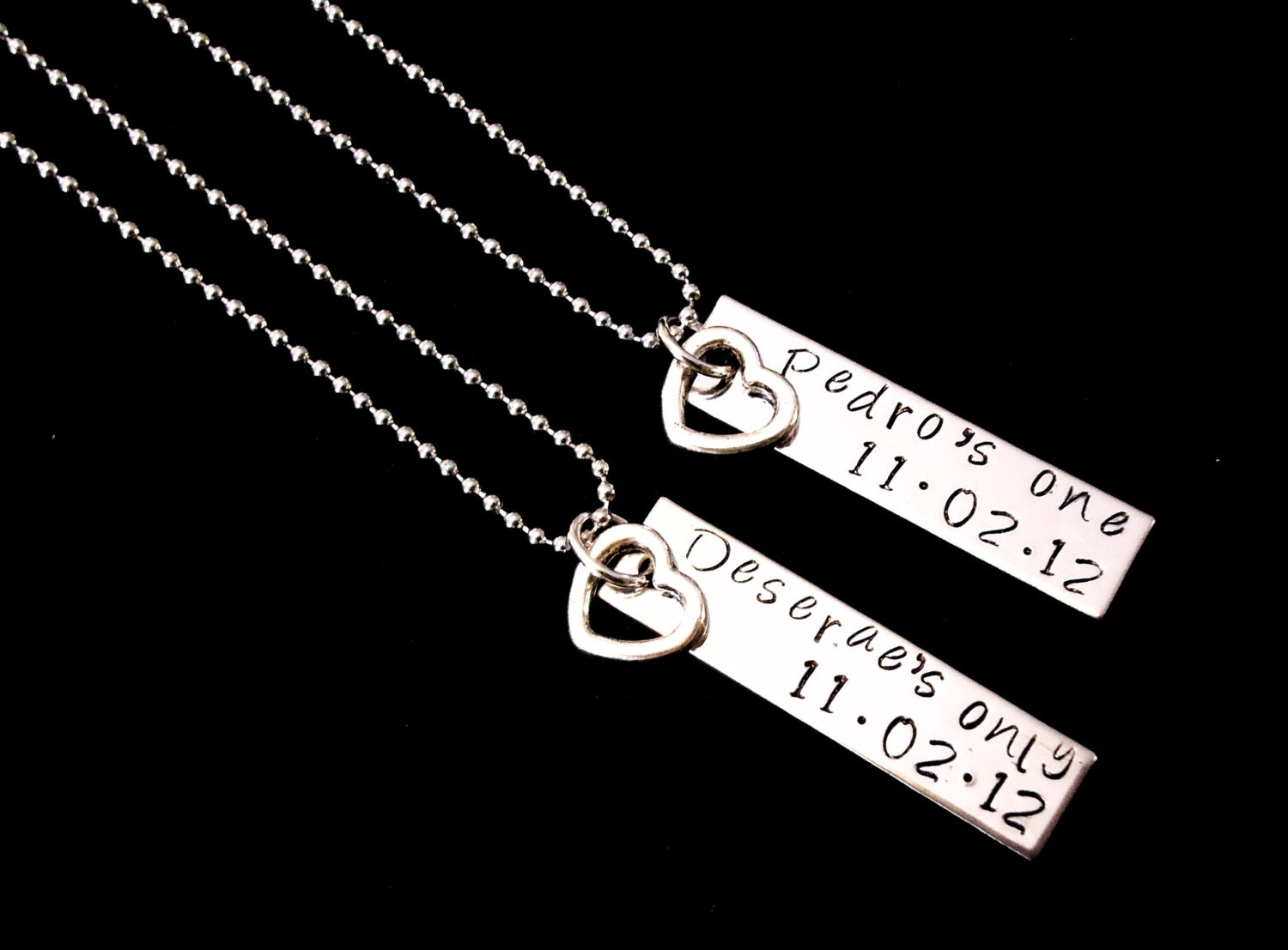 Her One His Only Customized with Name and date Hand stamped