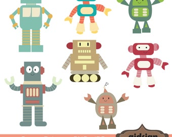 Cute robot clipart | Etsy