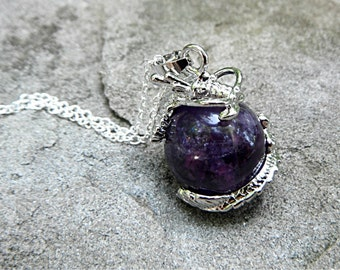 Purple Amethyst Necklace, Chinese Dragon Necklace, Asian Jewelry, Stone Pendant Necklace, Stone Necklace, Amethyst Pendant