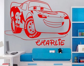 Disney MCQUEEN LIGHTNING CAR Personalised Wall Sticker Art Decal Vinyl Kid  room 003