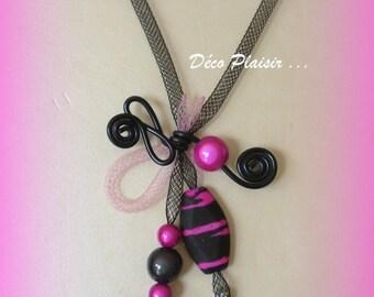 fabric collar tubular fuschia and black