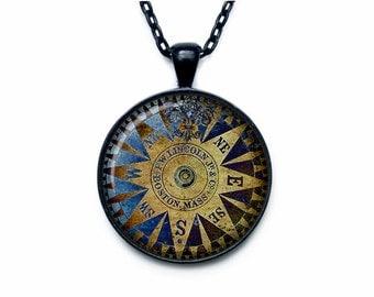 Vintage compass pendant  Wind rose necklace