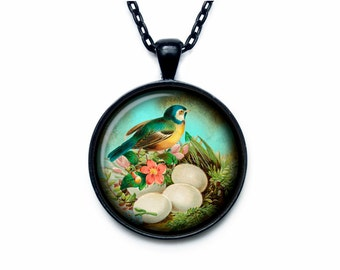 Bird nest pendant Bird nest necklace Bird nest jewelry nature necklace (PBN00004)