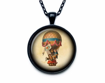 Hot air balloon necklace Hot air balloon pendant Hot air balloon jewelry