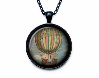 Hot air balloon necklace Hot air balloon pendant Hot air balloon jewelry