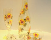 Olive Oil Bottle Hand Painted Yellow Flowers  Matching Champagne Flutes Upcycled Special Gift Home Interior Design Wedding Bridal Shower
