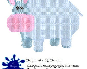Blue Hippo Plastic Canvas Pattern