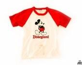 Vintage 1980's Mickey Mouse Disneyland Raglan T-Shirt Sz XS