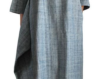 Natural Indigo Dye Handwoven Cotton Dress (DFS-042-03)