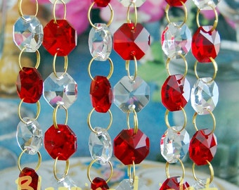 Clear & Colored - Glass Crystal - Chandelier Prism Chains - 2 FT