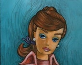 Retro Barbie mid century- Colourful acrylic painting on canvas