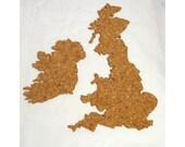 UK Map Cork Board , Medium - A map of the British Isles cut from cork.