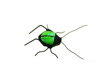 SMALL stained glass bug home decor green grasshopper