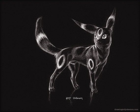 Umbreon - 8 x 10 quot  print  pokemon drawing  art  artwork  gaming    Umbreon Artwork