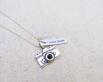 I Shoot People - Hand Stamped Necklace with Camera and Swarovski Crystal