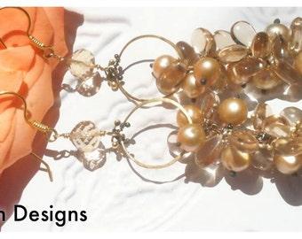 The Áine Earrings,  Long Dangle Earrings, 18k gold Chandeliers, Champagne Topaz and Cultured Pearl Wedding Jewelry