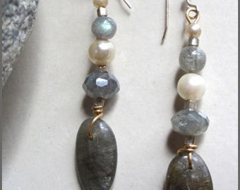 Vintage Pearl and Labradorite Dangle Earrings