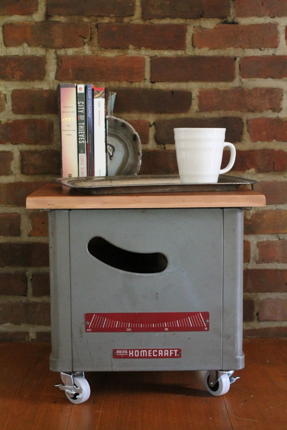 Rolling Stool Bookcase Small Table Storage Upcycled