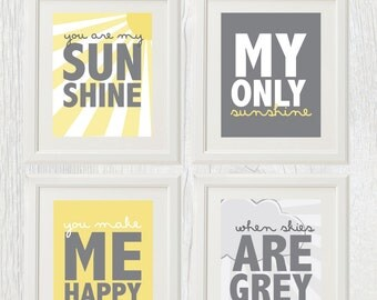 Printable nursery art - Sunshine Series - You Are My Sunshine - Wall Art - Customizable