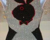 Sparkly Silver Playboy Bunny Emblem Hourglass Sleeveless Top