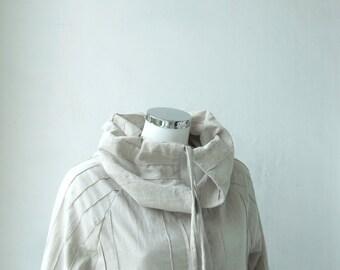 Summer Jacket Blezer Tunic Blouse - Snap-Fastened - Reglan Long Sleeve - Plus Size Maternity- Eggshell Natural Cotton Off White