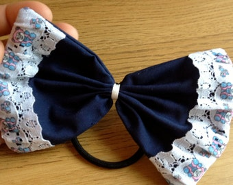 Handmade Navy Blue Ponytail Hair Bow with Lace Detail