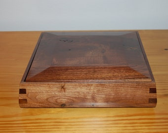 Rustic Walnut Jewelry Box with Flip Top