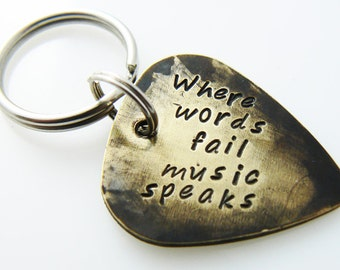 Guitar Pick Keychain, Personalized Key Ring, Accessories, Christmas Gift for Boyfriend, Dad, Brother, Musicians