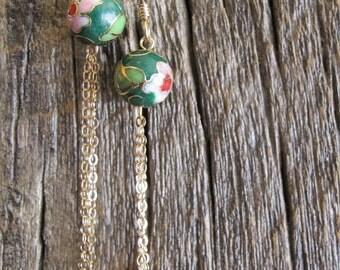 Green cloisonné bead earrings
